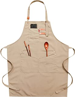 MASII Kochschürze,Leinwand Schürze,Geeignet für Konditoreien, Barbiere, Arbeitsschürzen für Männer und Frauen,Apricot
