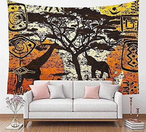 Yhjdcc Tapiz con símbolo tribal africano con mapa de África, arte étnico para colgar en la pared, decoración de fiesta, ropa de cama, decoración del hogar, para dormitorio, sala de estar, 150 x 200 cm