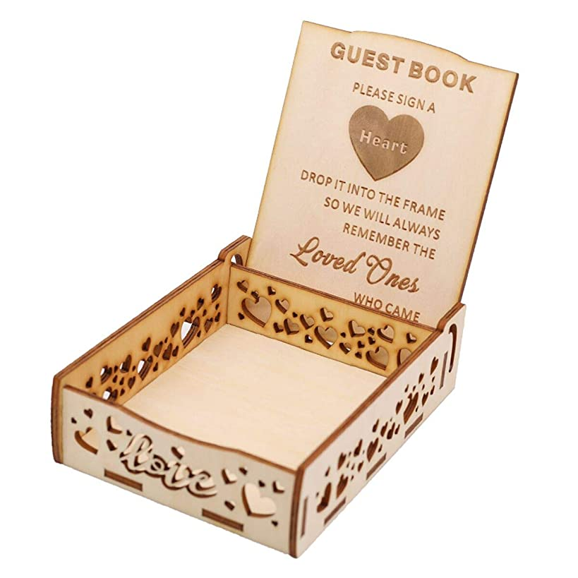 Creawoo Heart Holder Box for Guest Book - Wooden Guestbook Sign Box for Drop Box Wedding Guest Book