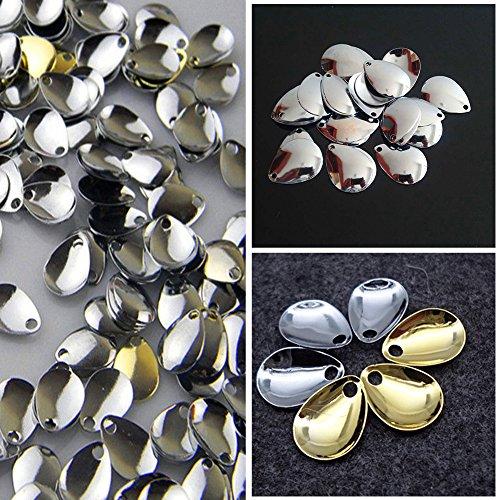 ZAK168 50 Stück Angeln Locker Spinner Klingen Glatt Nickel Löffel Spinner Klingen Angelzubehör Angelzubehör, goldfarben, Free Size