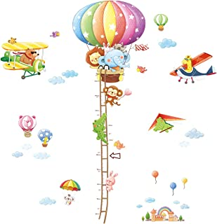 DECOWALL DA-1606N1506C Animal Hot Air Balloon Height Chart and Biplanes Kids Wall Decals Wall Stickers Peel and Stick Removable Wall Stickers for Kids Nursery Bedroom Living Room