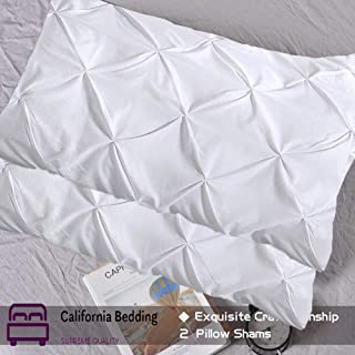 California Bedding Pinch Plated/Pintuck Pillow Cover Sham White Solid/Plain Set of 2 Luxuries Decorative 800 TC Long-Staple Egyptian Cotton King/Cal-King 20x40 Size, Soft Breathable Natural Cotton