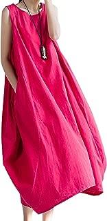 utcoco Women's Casual Solid Color Linen Cotton Midi Sundress Tank Dress with Pockets