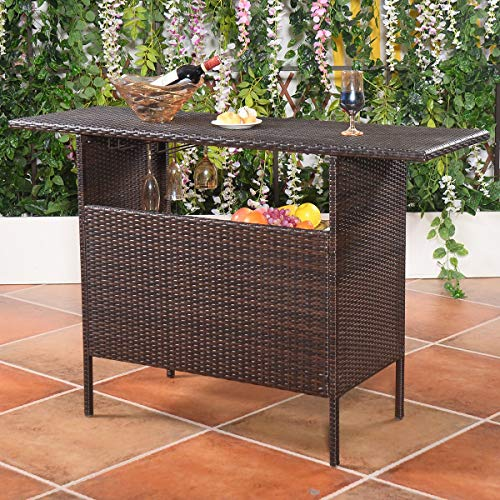 """ReunionG Outdoor Wicker Bar Patio Rattan Counter Table with 2 Steel Shelves, 2 Sets, 55.1"""" x 18.5"""" x 36.2""""(L x W x H), Brown"""