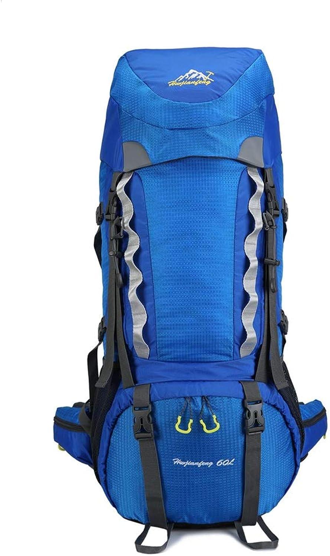 LIUXING-WAC Outdoor Bergsteigen Rucksack Trekking Bag für Mnner Frauen - Regenfester Sportrucksack Wandern Tagesrucksack Geeignet für Winter Mountain Skiing (Farbe   Blau, Gre   Einheitsgre)