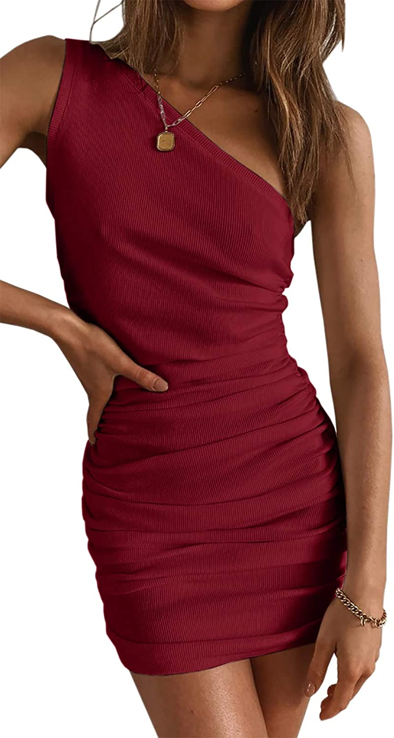Womens One Shoulder Bodycon Ruched Cocktail Party Sleeveless Sexy Elegant Mini Dress