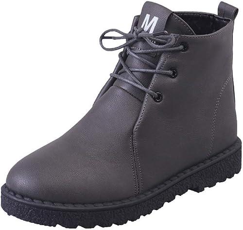 ZHRUI Bottes Femmes Chaussures Bottines Mode Femmes Hiver Neige Botte Chaussures en Coton Chaudes Bottes étudiants étanche Martin Botte (Couleuré   gris, Taille   39)