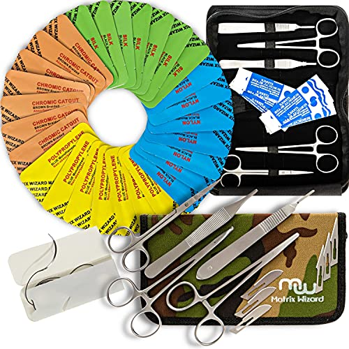 Mixed Sutures Thread with Needle (Dissolvable and Non-Dissolvable) Plus Tools- Surgical Suture Practice, First Aid Emergency Survival Drill, Camping Hiking Preparedness, Military Trauma Kit (40 Pack)
