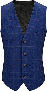 YIMANIE スーツ ベスト メンズ ジレベスト ビジネス フォーマル チェック柄 ストライプ スーツ仕立て 4ボダン 5タイプ 大きいサイズ XS-5XL 尾錠付き 上質 紳士 スリム 紺 ブルー グレー