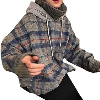 Macondoo Women's Thick Pullover Stitching Plaid Hooded Turtleneck Sweatshirts