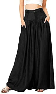 Fankle Women's Wide Legs Long Pants Cotton Soft Summer Casual Loose Trousers Wide Leg High Waist Culottes Palazzo Flared Baggy Flowy Full Size Plus Size