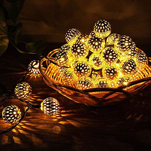 Apeso Solar String Lights,16.5ft Indoor Metal Ball Garden Lights,Waterproof 40 LEDs Morocco Ball Decorative Light for Tree,Patio,Yard,Wedding,Party,Indoor(Warm White-Mor-1)