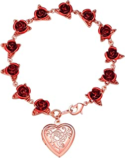 U7 Women Girls Rose Flower Charm Bracelet 18K Gold or Platinum Plated Link 12 Roses Jewelry Lover Gift with Custom Service, Gift Pacakage(Rose/Locket Style/ 100 Lauguages I Love You)