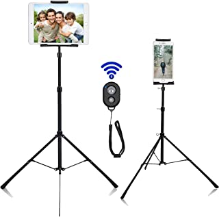 Weiyudang Soporte de pie para teléfono o tableta, soporte de trípode, portátil, altura ajustable de 20 a 50 pulgadas, rotación de 360 grados para todos los teléfonos y tabletas de 4 a 12 pulgadas