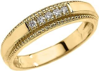 10k Yellow Gold Diamond Wedding Band Ring for Men