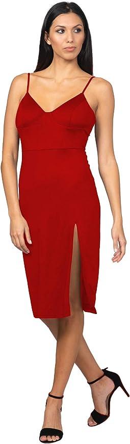 High Slit Knit Midi Dress