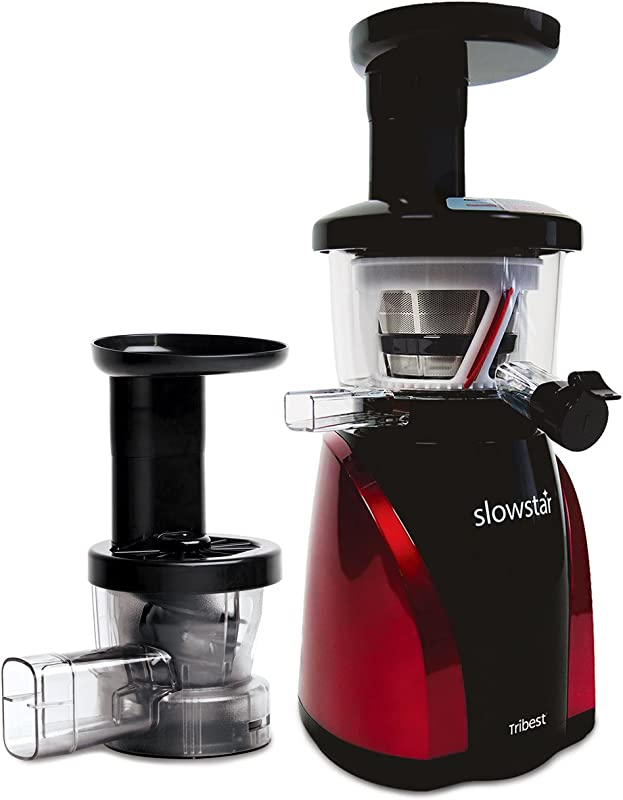 Tribest Slowstar Vertical Slow Juicer And Mincer SW 2000 Cold Press Masticating Juice Extractor In Red And Black