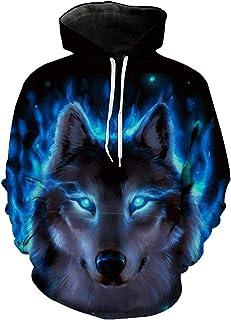 Boy's Winter Funny Wolf Design Print Sweatshirt Hoodies Unisex Teens Hooded Pullover
