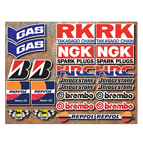 STICKERZZZ!!! Laminated 24 PVC Sticker Set Motorsport Racing Motorcycle Car Racing Sticker Moto Gp Sponsors by ONEKOOL