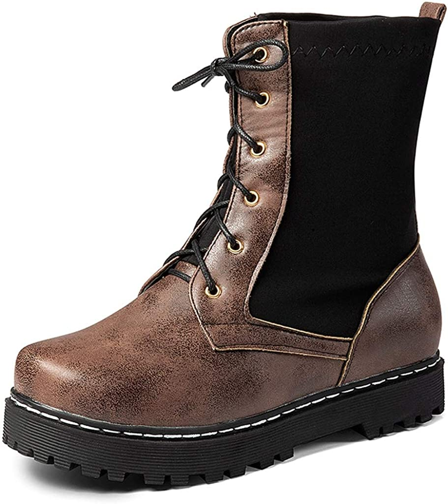 GCOCO Women's Retro Round Toe Gifts Combat Lace Buckle Tucson Mall Up Boots Ankle