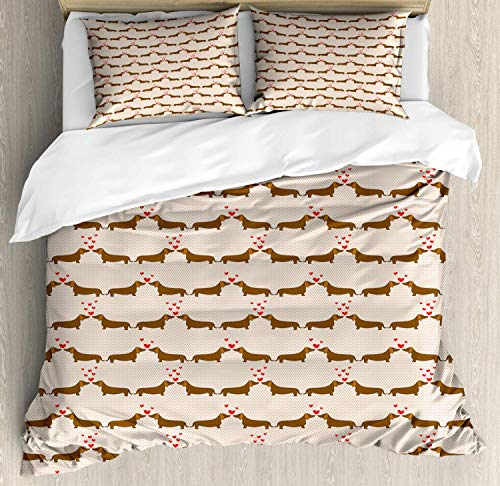 Dachshund 4pc Duvet Cover Flat Sheet and 2 Pillow Shams Bedding Set for Adult/Kids/Children/Teens, King Cartoon Sausage Dogs in Love on Polka Dotted Backdrop, Chocolate Vermilion Ivory Pale Salmon
