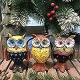 LBYLYH Regalo de Adorno de decoración de jardín para el hogar American Village Simulation Owl Figurine Creativo Resina Pintado Animal Estatua Regalo de cumpleaños Set de 3
