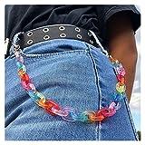 GYC Hombres Mujeres Acrílico Color Caramelo Pantalones Pantalones Cadena Hip Hop Transparente Viento frío Arco Iris Color Llavero joyería Pantalón Billetera Accesorios de Ropa (Color: Multicolor)