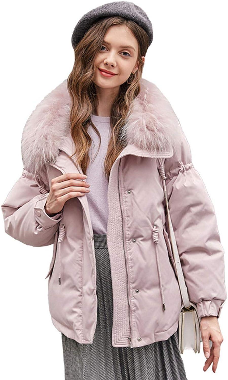 YXXHM- Down Jacket Female, Large Fur Collar, Short Down Jacket, Lapel Winter Jacket