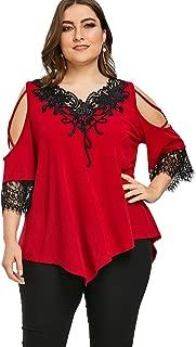 DEZZAL Women's Cold Shoulder Lace Appliqued Asymmetrical Tunic Top