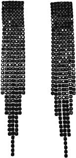 Clip-On and Pierced Earrings Extra Long Art Deco Great Gatsby Flapper Statement Gun Metal Black Rhinestone Crystal Chandelier Long Drop Earrings for Women Wedding Bridal Prom Debut