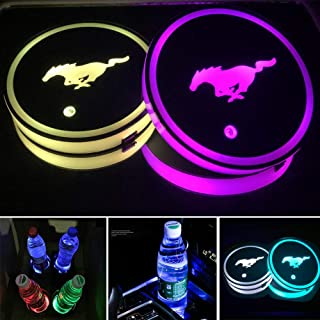 Aswelly LED Car Cup Holder Lights for Mustang 2PCS Car Logo Cup Coaster with 7 Colors Changing USB Charging Mat Luminescen...
