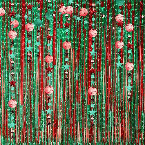Christmas Decoration Backdrop - 4 Pack Foil Curtains Metallic Fringe Curtains and 2PCS Glitter Circle Dots Star Garlands for Birthday Wedding Christmas New Year Eve Party Decorations (Red and Green)