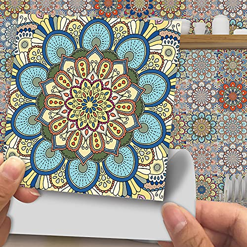 Pegatinas de azulejos estilo mandala, 20 unidades, 15 x 15 cm, autoadhesivas, impermeables, para decoración de cocina, sala de estar, baño (30 x 30 cm-10 unidades)
