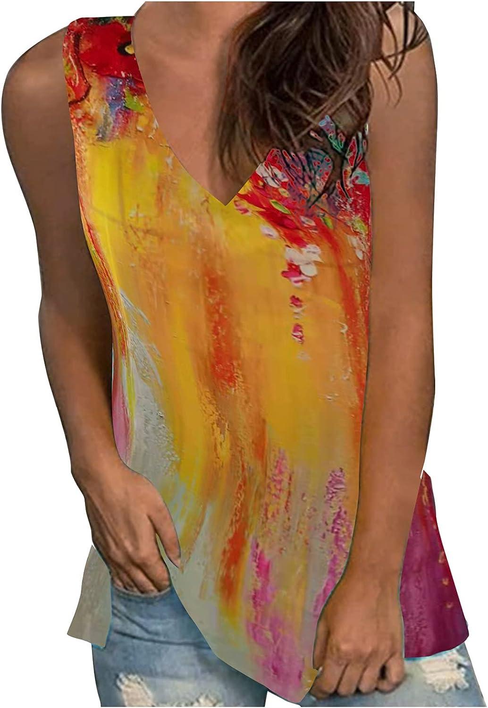 Women Summer Fashion Sexy V-Neck Printed Sleeveless Vest Top