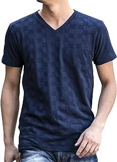 (エーエスエム) A.S.M メンズ ブロック ジャガード Vネック Tシャツ 02-66-9754