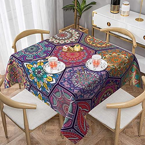 Schöne blühende sechseckige Tischdecke aus Polyester, öl- / wasserdicht/ faltenfrei/ fleckenabweisend, für Küche, rechteckig, Tischdekoration, waschbare Tischdecke