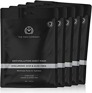 THE MAN COMPANY Hydrating Face Sheet Mask (Pack of 5) – Charcoal Sheet Mask Set (0.85 oz X 5) - Hyaluronic Acid Sheet Mask...