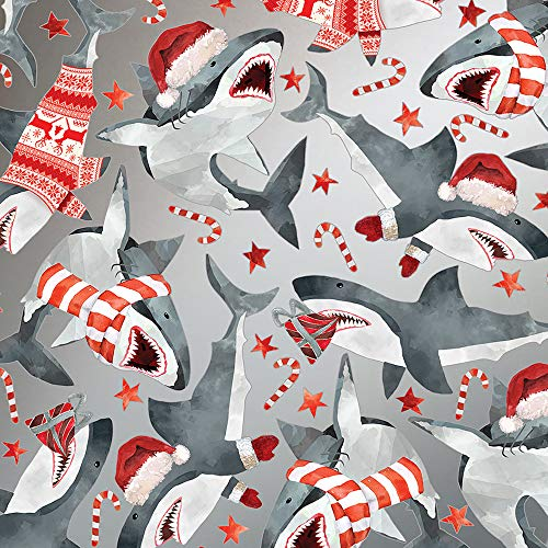 Christmas Sharks Folded Wrapping Paper, Festive Great White Sharks with Santa Hats, 10 Feet Long Folded Boy's Christmas Giftwrap
