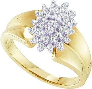 0.25 Carat (ctw) 10K Round Cut White Diamond Ladies Cluster Right Hand Ring 1/4 CT, Yellow Gold