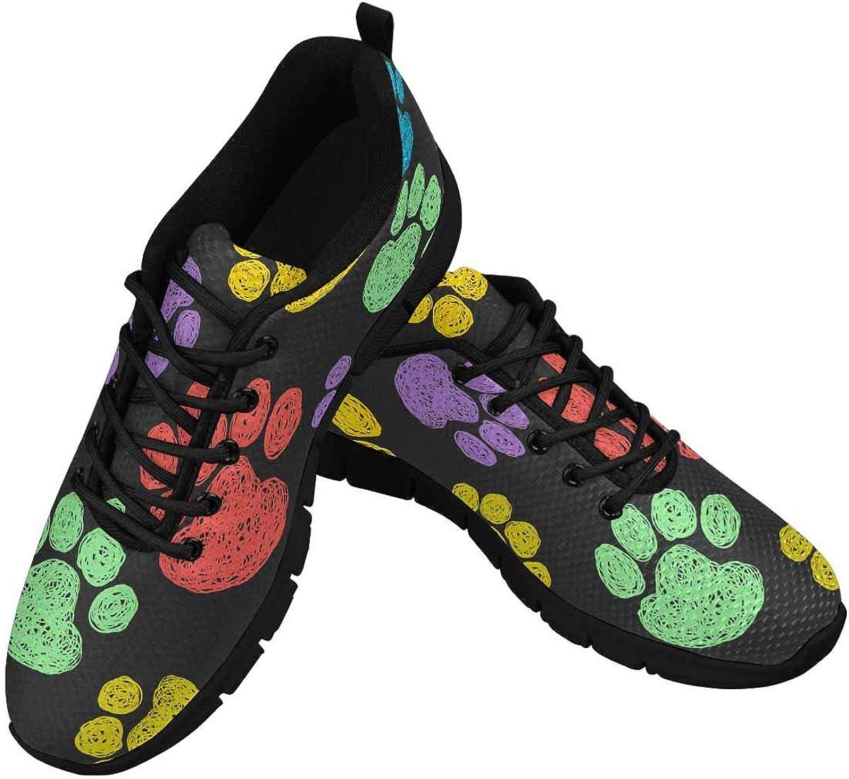INTERESTPRINT Paw Print Women's Walking Shoes Lightweight Casual Running Sneakers