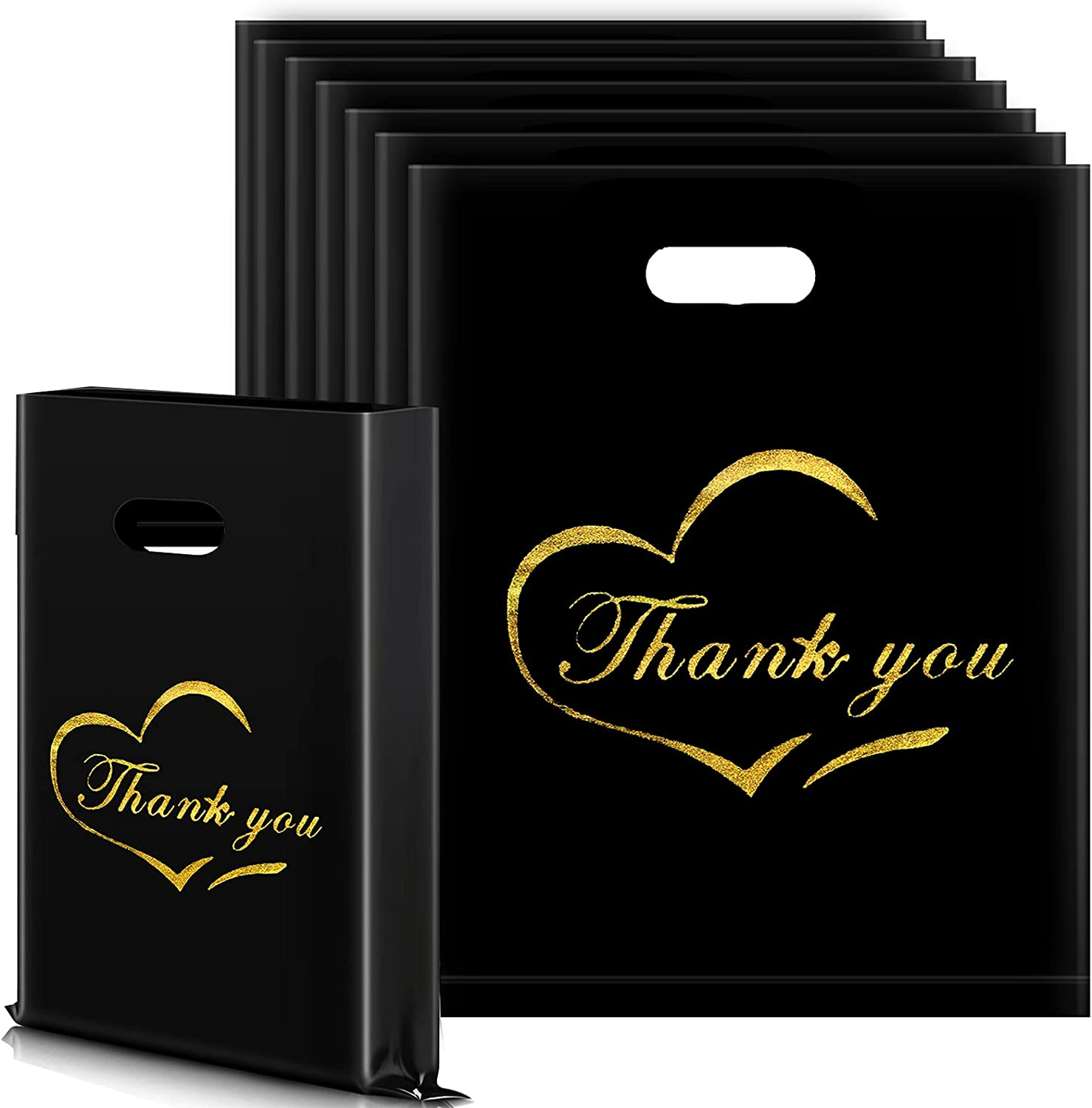 100 Pieces Thank You Business Bags 12 Max 47% OFF Black M 15 Financial sales sale x Reusable Inch