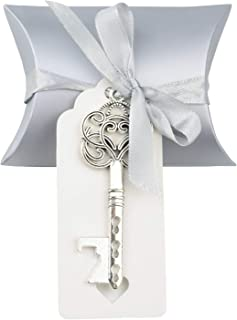 Aokbean 50pcs Vintage Skeleton Key Bottle Openers Wedding Favor Souvenir Gift Set Pillow Candy Box Escort Thank You Tag French Ribbon (Antique Silver)