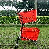 Speicher Auto Supermarkt Trolley japanischen Doppeldecker Einkaufswagen Adult Grocery Einkaufswagen Mall Startseite Metallwagen mit Ablagekorb (Farbe: rot) Große Kapazität Wagen (Color : Red)