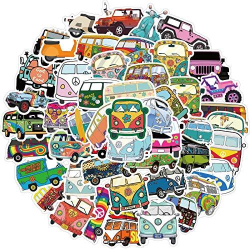 BLOUR Paquete de 50 Uds, Pegatinas Retro Hippies, Pegatinas de autobús de Amor y Paz para Coche, portátil, Equipaje, patinetas, Diario, papelería, calcomanía, Pegatina