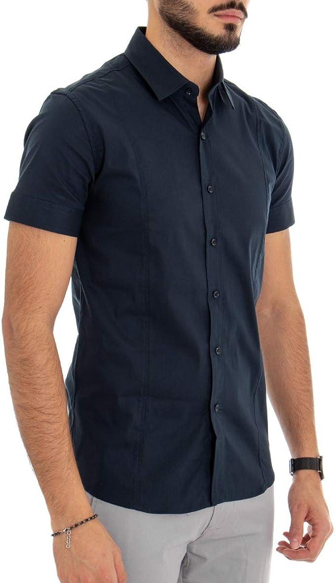 Giosal Outfit - Camisa de Manga Corta para Hombre, Color Azul ...