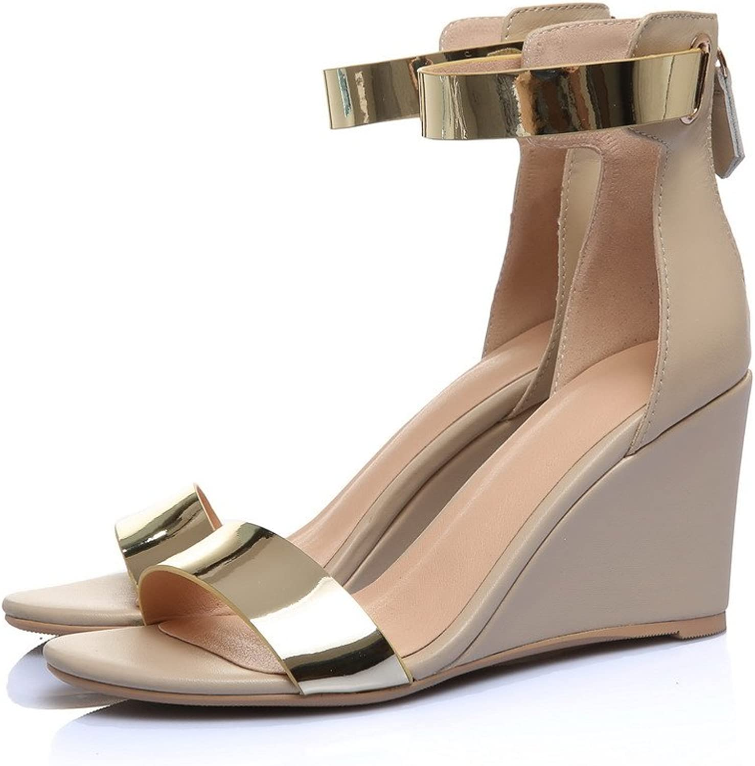 AmoonyFashion Women's High-Heels Soft Material Assorted color Zipper Open-Toe Sandals
