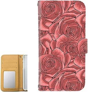 HUAWEI nova lite 3 (POT-LX2J) ケース 手帳型 ミラータイプ 【花柄:レッド】 ローズ 薔薇 型押し風 ノバライトスリー スマホケース 携帯カバー [FFANY] floribunda-190531m