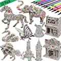 3D Coloring Puzzle Set,4 Animals Puzzles with 12 Pen Markers, Art Coloring Painting 3D Puzzle for Kids Age 7 8 9 10 11 12. Fun Creative DIY Toys Gift for Girls and Boy by kazoku