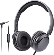 Avantree Superb Sound Wired On Ear Headphones with Microphone, 1.5M / 4.9FT Long Cord with Mic for Adults, Students, Kids, Comfortable Headsets for PC Computer, Laptop, Tablet, Phone - 026 Black