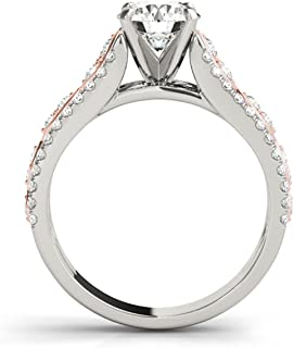 1 Carat Halo Two-Tone Hand Crafted Diamond Engagement Ring in 14k Solid Rose & White Gold